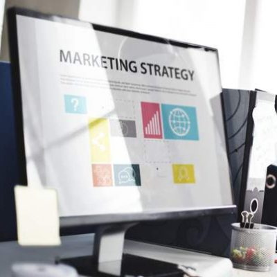 computer screen with marketing plan