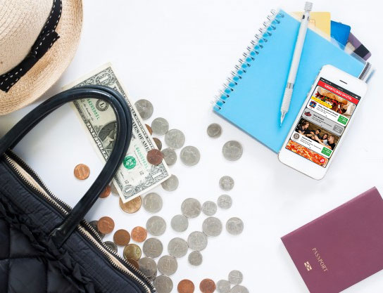 scattered purse, money, cellphone with SmartCard app, hat and wallet